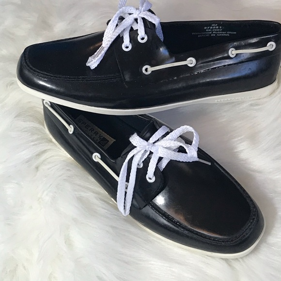 Sperry Topsider Black Rubber Shoes Size
